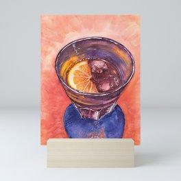 Glass of Ice drink with Lemon original. Mini Art Print