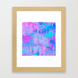Totem Cabin Abstract - Hot Pink & Turquoise Framed Art Print