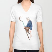 jack frost V-neck T-shirts featuring Jack Frost by Rosita Maria