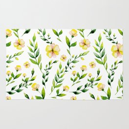 Modern hand painted yellow green watercolor spring flowers Rug