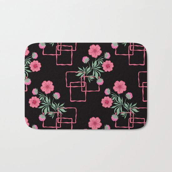 Red ,pink flowers on black background . Bath Mat