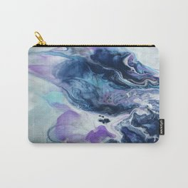 Navy Blue, Teal and Royal Purple Marble Carry-All Pouch