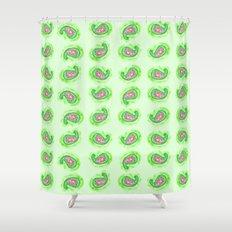 Watermelon Green Paisley Watercolor Shower Curtain