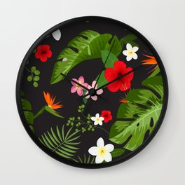Tropical Flower Background 6 Wall Clock