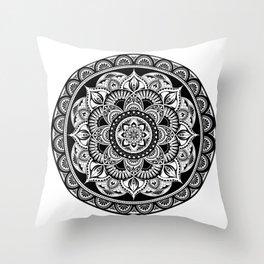 Black Mandala Throw Pillow