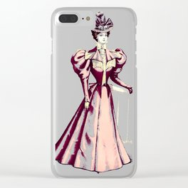 Vintage Victorian Fashion Lady in Pink Clear iPhone Case