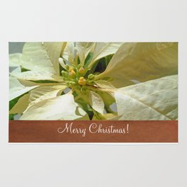 Pale Yellow Poinsettia 1 Merry Christmas S1F1 Rug