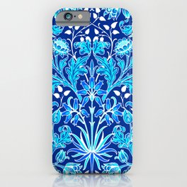 William Morris Hyacinth Print, Navy and Cobalt Blue iPhone Case