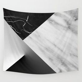 Monochromatic Marble Collage  Wall Tapestry