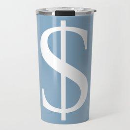 dollar sign on placid blue color background Travel Mug