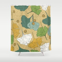 Teal Ginko Shower Curtain