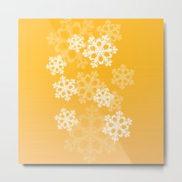 Cute yellow snowflakes Metal Print