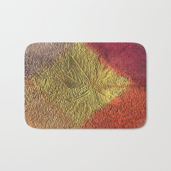 Golden leaves with purple pink and orange metallic look Bath Mat