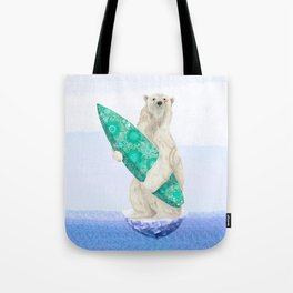 Polar bear & Surf (green) Tote Bag