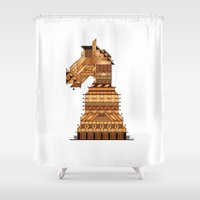 chess Shower Curtains featuring Chess Knight by halley_anne