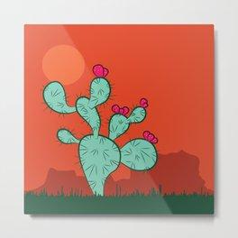 Southwest Desert Succulent Cactus With Sun Metal Print