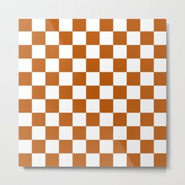 Checker Texture  (Bronze & White) Metal Print