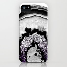 Gray Black White Agate with Purple Black Silver Glitter #1 #gem #decor #art #society6 iPhone Case