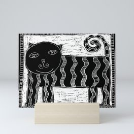 Stripey cat Mini Art Print