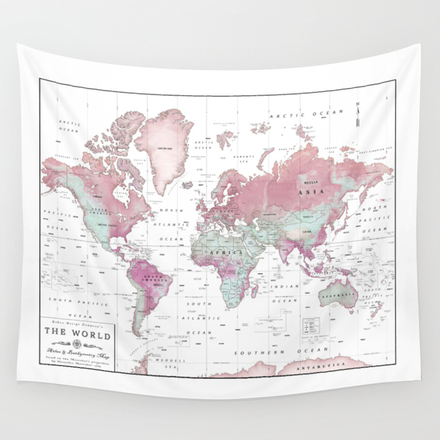 World Map Wall Tapestry World Map Wall Art [Pink Hues] Wall Tapestry by kokuadesigncompany