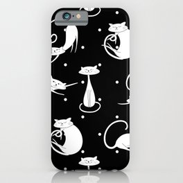 French Cats - Black iPhone Case