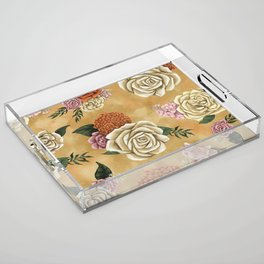 Gold luxury floral Acrylic Tray