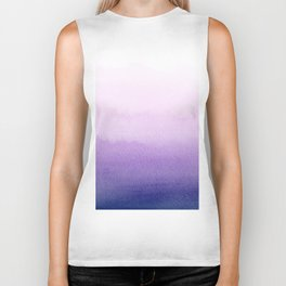 Purple Watercolor Design Biker Tank