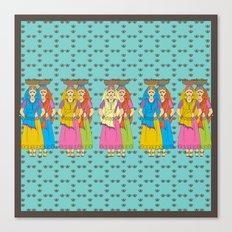 Indian Village Girls Canvas Print