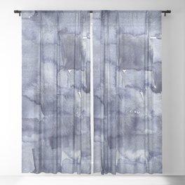 Indigo Watercolor Geometric Abstract Sheer Curtain