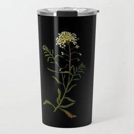 Iberis Amara Mary Delany Floral Flower Paper Collage Delicate Vintage Black Background Botanical Travel Mug