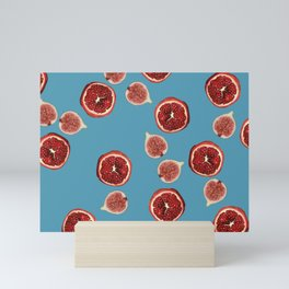 Pomegranate - Figs Pattern turquoise Mini Art Print