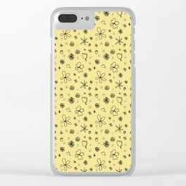 Vintage Inspired Canary Yellow Floral Pattern Clear iPhone Case