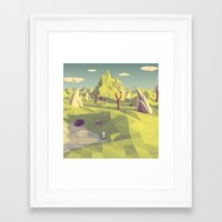 polygon Framed Art Prints featuring Polygon Landscape by Tom Lee
