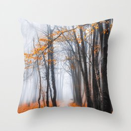 Misty road Throw Pillow