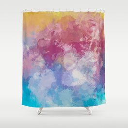 Bright Pastel Paint Splash Abstract Shower Curtain