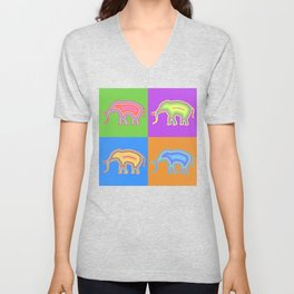 Elephants (Pop Art & Pattern) Unisex V-Neck