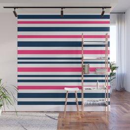 Horizontal , striped , pink , blue , white Wall Mural