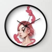 burgundy Wall Clocks featuring Burgundy Feelings by zsami