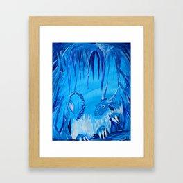 Ice Cavern Dragon Framed Art Print