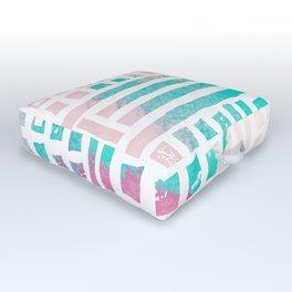 Pastel pink magenta coral geometrical watercolor Outdoor Floor Cushion