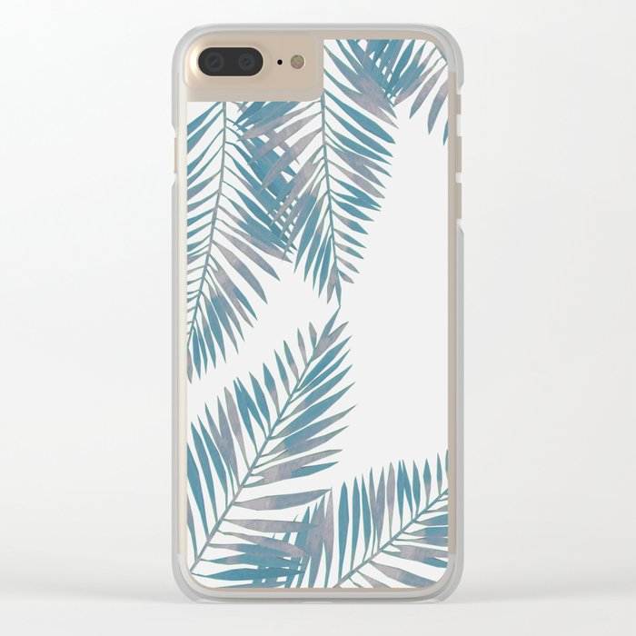 Watercolor tropical palm leaves blue Clear iPhone Case