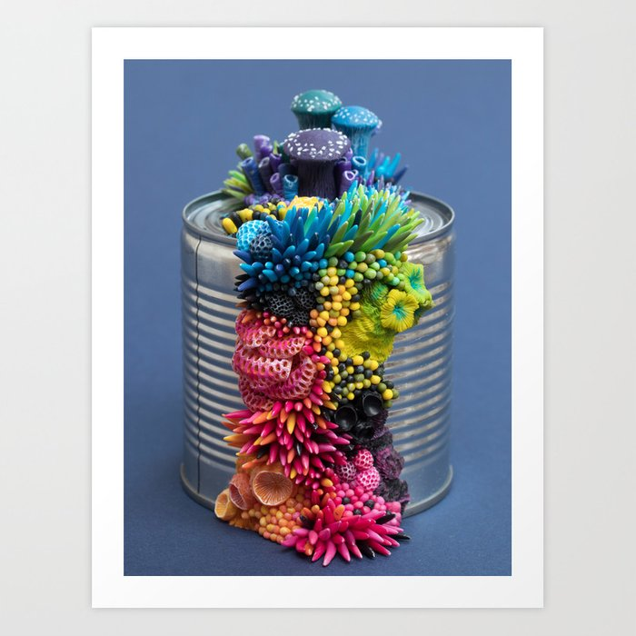 Rainbow Growth, Nature, Mushrooms, Corals on Tin Can Art Print