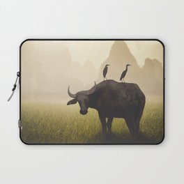 Water Buffalo And Egrets Laptop Sleeve