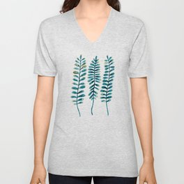 Watercolour Fern Pattern | Teal and Gold Unisex V-Neck