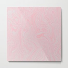 Modern abstract pink gray watercolor brushstrokes pattern Metal Print