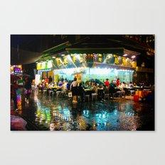 Hong Kong Cafe Blue Canvas Print
