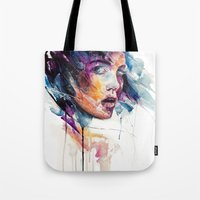 agnes Tote Bags featuring sheets of colored glass by agnes-cecile