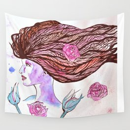Woman of the Roses Wall Tapestry