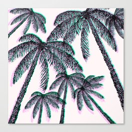 Tropical Palm Trees in Pink Teal Black Canvas Print