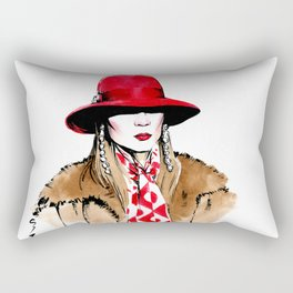 Fashion #18. woman in red hat, fur coat, long bright scarf and long earrings. Rectangular Pillow